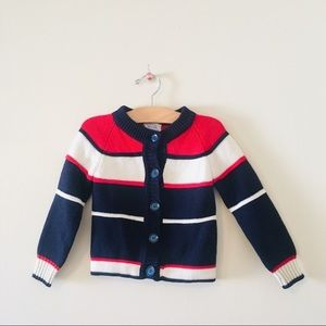 Vintage boys acrylic striped red blue sweater
